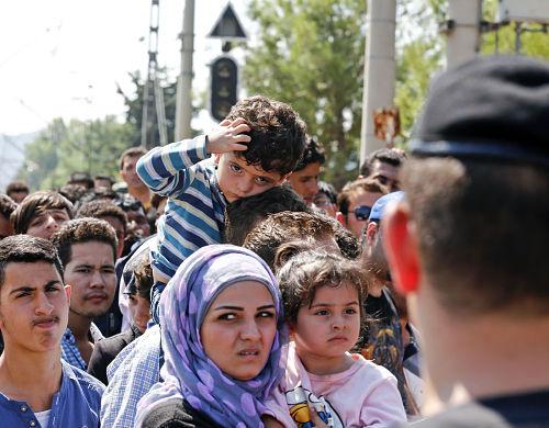 Flüchtlinge an der mazedonischen Grenze im August 2015