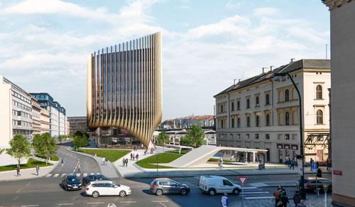 Stilisierte goldene Gleise an der Fassade verweisen auf den Masaryk-Bahnhof.