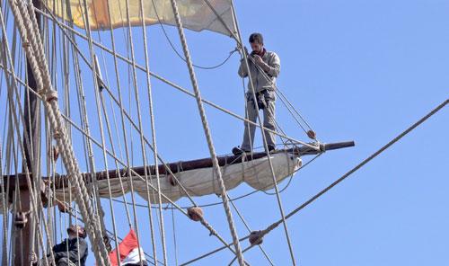 Wer als Kadett reist, muss mit anpacken und in fast 25 Metern Höhe die Segel setzen.