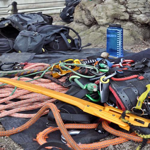Ein Arborist braucht genauso viel Ausrüstung wie ein Bergsteiger.