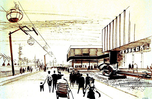 Entwurf von Miroslav Řepa und Alexandr Pýcha für den tschechoslowakischen Pavillon bei der Expo in Montreal, 1966