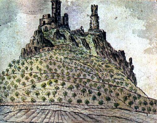 Máchas Zeichnung der Hasenburg bei Lovosice (um 1833)Máchas Zeichnung der Hasenburg bei Lovosice (um 1833)