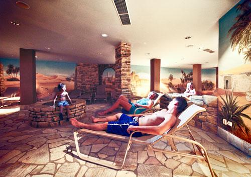 """In der """"Sahara"""" des Aquaparks ist der Winter vergessen."""