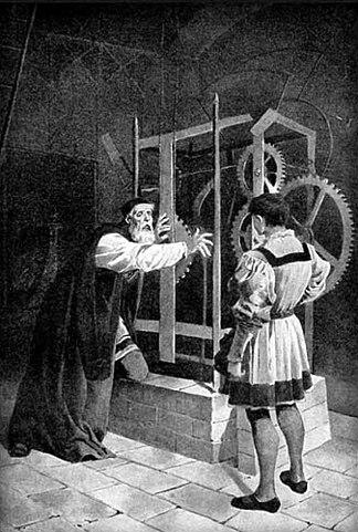 Meister Hanuš und sein Schüler Jakub Čech (aus: >Alte böhmische Sagen< von Alois Jirásek, Zeichnung: Věnceslav Černý, Prag 1910)