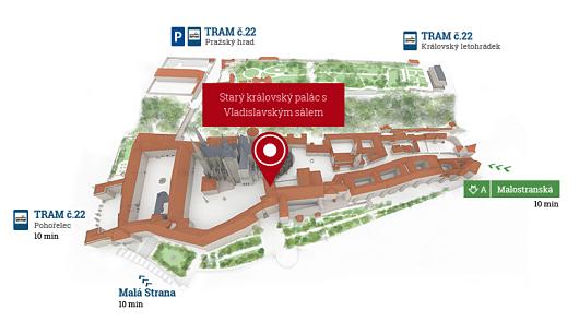 Lage des Alten Königspalastes mit Wladislaw-Saal