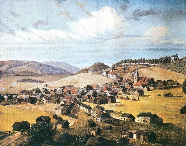 """Diese """"Ansicht von Oberplan"""" malte Stifter im Alter von 17 Jahren."""