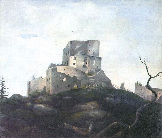 Ruine der Burg Wittinghausen (Vítkův hrádek) im Böhmerwald - Gemälde von Adalbert Stifter (um 1835)