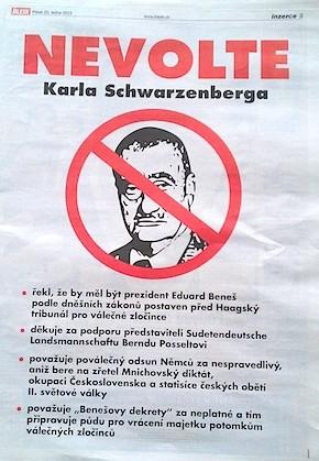 Zeitungsannonce gegen Karel Schwarzenberg (Januar 2013)