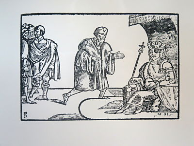 Szene mit Wenzel I. auf dem Thron aus der Chronik des Václav Hájek aus Libočany, 1541 (fotografiert im Agneskloster, Prag)
