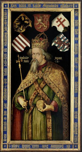 Kaiser Sigismund auf einem nicht zeitgenössischen Gemälde von Albrecht Dürer (1512)