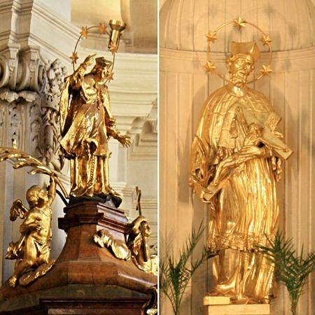 Nepomuk-Statuen in der Kirche des Heiligen Nepomuk auf dem Felsen (links auf dem Kanzeldach, rechts auf dem Altar)