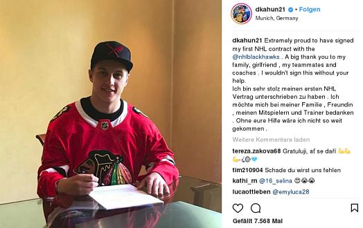 Kahun unterschreibt den Vertrag der Chicago Blackhaws  | © Dominik Kahun, Instagram
